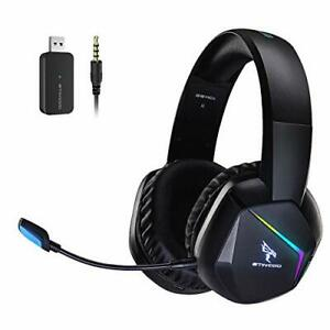 2.4G Wireless Gaming Headset for PS4, PS5, PC, with Detachable Mic and RGB