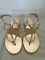 BCBG Maxazria Women Sandals Size 9 Rose Gold Metallic T-Strap Wedges Heel