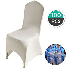 100 Pcs Ivory Chair Covers Polyester Spandex Stretch Slipcovers Party Wedding
