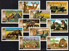 ANIMAUX DIVERS Rwanda 10 val de 1972 ** SINGE ZEBRE BUFFLE HIPPOPOTAME LION