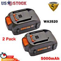 2Pack 5.0Ah WA3520 20V Battery For Worx Lithium WA3580 WA3575 WA3525 WG151S Tool