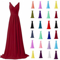 New V Neck Long Chiffon Bridesmaid Prom Dress Formal Evening Party Gown Size6-20