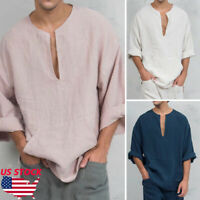 Men's Long Sleeve Linen Shirt Loose Summer Casual V-Neck Shirts Tops M-3XL Tee