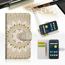 WHITE ZTEC TRIBAL Wallet Case Cover For Telstra Optus Alcatel Pixi 3 4.5 --A006