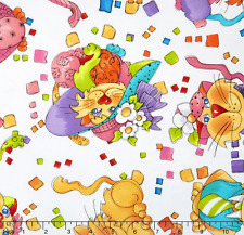 Novelty Quilting Treasures Tossed Happy Cats 100% cotton Fabric by the yard