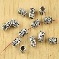 40pcs Tibetan silver flower tube spacer beads h2795