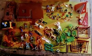 TIMPO FRONTIER LAND COWBOYS/INDIANS-STAGE COACH,TEEPEE- BOARD-MISC PCS USED GOOD