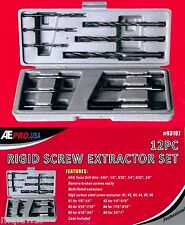 12 pc piece Rigid Screw Extractor Set NEW Easy Out Tool Carbon Steel Extractor