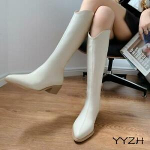 Women's Fashion Knee High Boots Point Toe Mid Heels Side Zipper Casual OL Shoes