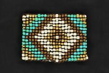 M&F Western Womens Jewelry Bracelet Stretch Beads Gold Turquoise 30448