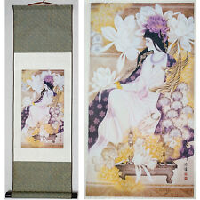 """Home decor Chinese silk scroll painting Beauty figure Ink painting """"花神"""""""