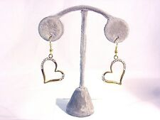 TARAMANDA GOLD HEART SHAPED HANGING EARRING WITH GENUINE CRYSTALS #68-A/1