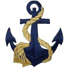 Anchor Applique Patch - Metallic Gold Rope, Nautical Badge 2.5