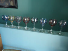 8 vintage retro art deco harlequin lustre ware wine sherry glasses