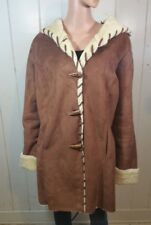 WOMAN WITHIN FAUX SUEDE COAT W/WARM SOFT LINING AND HOOD LARGE