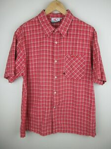 O'Neill Mens Shirt Size M Short Sleeve Button Up Regular Red Plaid Adult