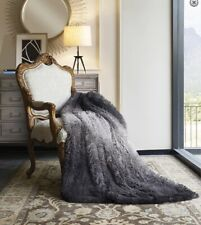 Black Ombre-Faux Fur-Throw-Shag front-Suede back-NEW-50 x 60 inches