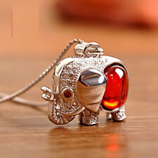 Elephant Red Gemstone 925 Sterling Silver Find Jewelry Choker Necklace for Lady