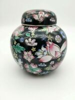 Vintage Chinese Famille Noire Ginger Jar Pink Blue Yellow Floral on Black