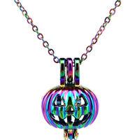C389 Halloween Pumpkin Pearl Cage Pendant Chain Necklace Rainbow Color