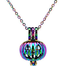 C389 Halloween Pumpkin Pearl Cage Pendant Chain Necklace Rainbow Color