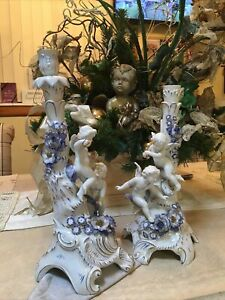 Antique German Von Schierholz Porcelain Pair Of candlesticks Angel Cherub Exc
