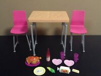 BARBIE DOLL DINING ROOM TABLE CHAIRS FURNITURE LOT PLAYSET FOOD ACCESSORIES