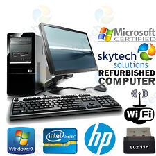 Cheap HP Computer Tower Monitor Keyboard Mouse Fast Windows 7 Dual Core PC Wi-Fi