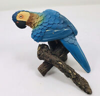 """Macaw Parrot Perched on Branch Small Figurine 6"""" wood Collectable"""