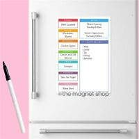 Magnetic Meal Planner Memo Board Whiteboard Fridge A4 Dry Wipe Family Prep Diet