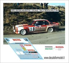 DECALS 1/43 OPEL ASCONA 400 BASTOS COLSOUL RALLY MONTECARLO 1982