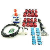 Kit Joystick Arcade 2 joueur Bouton Americain Rouge Carte USB Mame USB