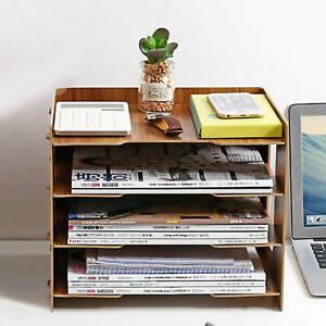 JOPOO Schreibtisch Holz Dokumentenablage, Büro Briefablage Papierablage A4