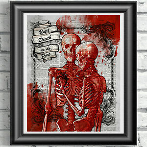 Skeletons Skulls Print Vintage Dictionary Page Wall Art Picture Gothic Lovers