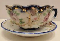 Antique Tea Cup Saucer Hand Painted Set