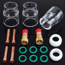 "17pcs TIG Welding Stubby Gas Lens 3/32"" #12 Pyrex Cup Kit For WP-17/18/26 Torch"