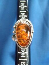 Beautiful Sterling Silver Baltic Amber Ring - Marked .925, Size 7.5