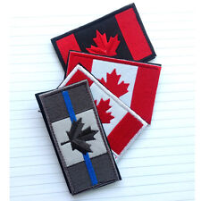 4PCS CANADA FLAG CANADIAN NATIONAL MAPLE FLAG POLICE BLUE LINE MORALE HOOK PATCH
