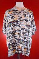 OCEAN CURRENT Rayon Blue Floral Hawaiian Aloha Shirt mens XL Palm Trees