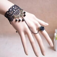 Fashion Women Vintage Gothic Style Lace Hand Slave Harness Bracelet Chain Ring