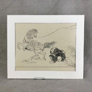 Antique Ittsho Print Japanese Horse Horseman Rider Old Japan Art Ca. 1890