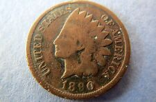 1890 INDIAN HEAD CENT> 1890  U.S. INDIAN HEAD BRONZE PENNY, Fine Circulated