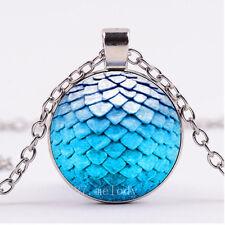 Photo Cabochon Glass Necklace Silver Fashion pendant(blue dragon egg)
