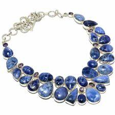 "Sodalite, Amethyst Gemstone Handmade 925 Sterling Silver Necklace 18"""