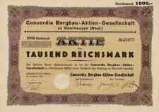 CONCORDIA Bergbau 1926 Oberhausen Rombach Düsseldorf Schering BERO 1000 RM Koks