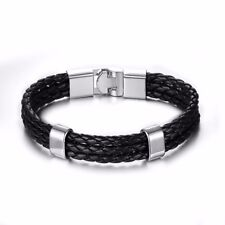 Mens Boys Black Braided Leather Bracelets Wristband Wide Layer Wrap Multi Stack