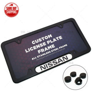 For Nissan Sport Front / Rear License Frame Plate Cover Stainless Steel Black