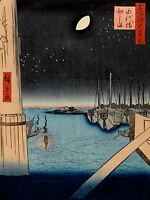 ART PRINT POSTER PAINTING JAPANESE WOODBLOCK BOATS IN HARBOUR NIGHT NOFL0787