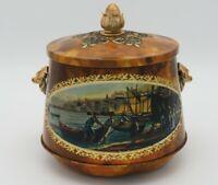 Alte Blech Teedose mit Henkel und Bucht Motiv 15 cm