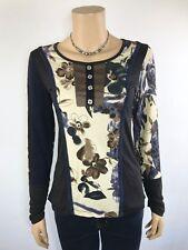 GABRIELLA FRATTINI Blue Cream Brown Floral Top Size 8 NWT NEW Stretch